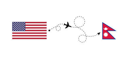 Flight and travel from USA to Nepal by passenger airplane. Airplane route and country flags. Travel concept