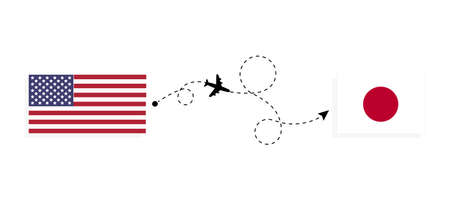 Flight and travel from USA to Japan by passenger airplane. Airplane route and country flags. Travel concept