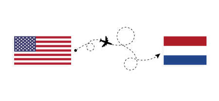 Flight and travel from USA to Netherlands by passenger airplane. Airplane route and country flags. Travel concept Illusztráció