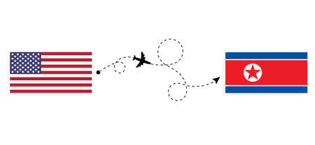 Flight and travel from USA to North Korea by passenger airplane. Airplane route and country flags. Travel concept