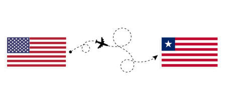 Flight and travel from USA to Liberia by passenger airplane. Airplane route and country flags. Travel concept
