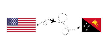 Flight and travel from USA to Papua New Guinea by passenger airplane. Airplane route and country flags. Travel concept Illusztráció