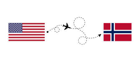 Flight and travel from USA to Norway by passenger airplane. Airplane route and country flags. Travel concept Illusztráció