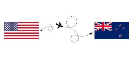 Flight and travel from USA to New Zealand by passenger airplane. Airplane route and country flags. Travel concept