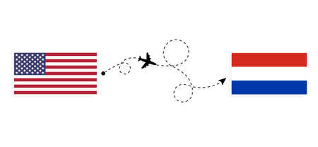Flight and travel from USA to Paraguay by passenger airplane. Airplane route and country flags. Travel concept Illusztráció