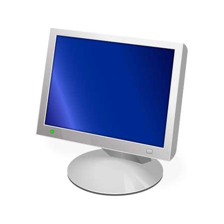 Volumetric monitor icon for personal computer or system unit. Color icon Illusztráció