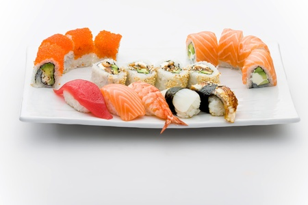 sushi plate: Set of different sushi and maky types