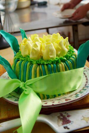 cake decorating: Happy Birthday Cake Stock Photo