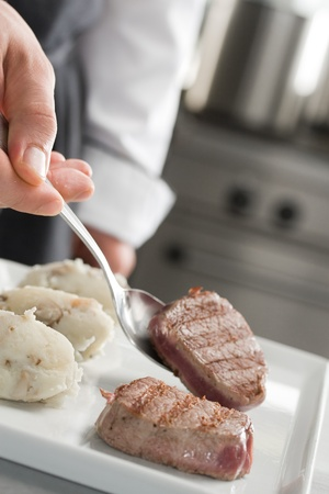 Chef working on professional kitchen Stock Photo - 10225781