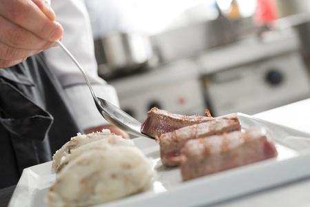 Chef working on professional kitchen