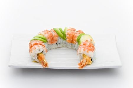 nigiri: Ebi maky Roll with fried shrimps Stock Photo