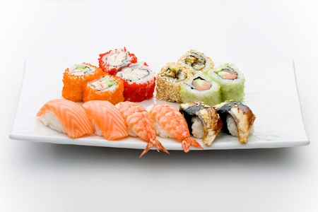nigiri: Set of different sushi and maky types