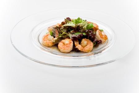 Tepan shrimps with salads mix