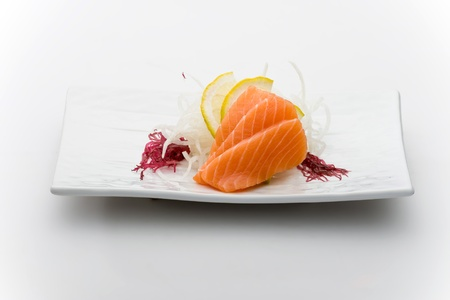 sushi plate: Salmon sashimy Stock Photo
