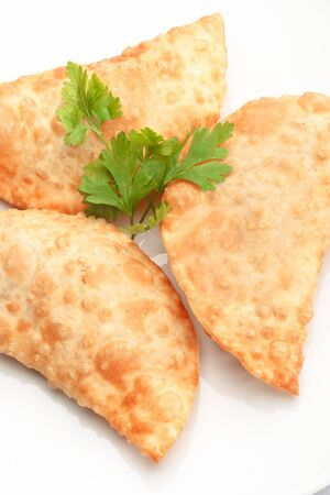Asian cuisine- chebureki � pasties isolated on white background decorated with dill