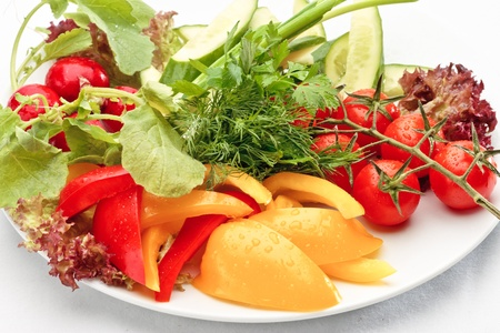 nonfat: Close-up of colorful fresh vegetables assorted on a white background Stock Photo