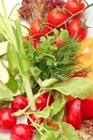 Close-up of colorful fresh vegetables assorted on a white background Stock Photo