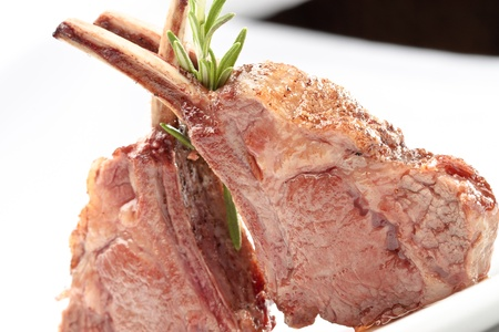 Lamb lion with thyme elegantly served on a white background isolated Stock Photo