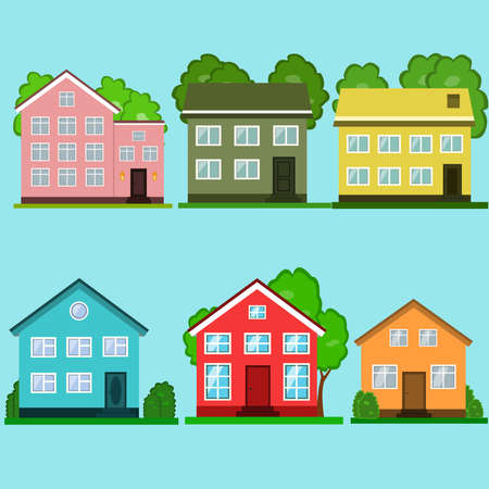 Set of colorful houses vector illustration.