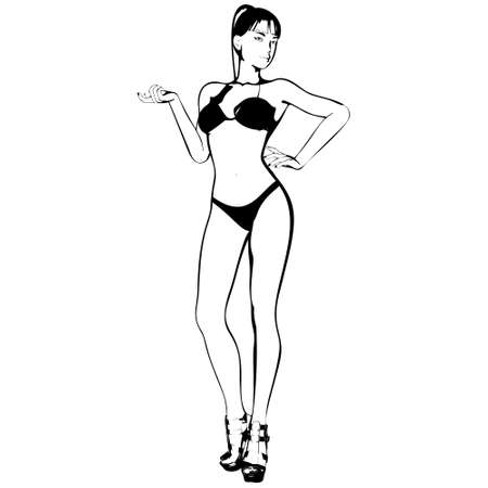 Sexy young girl in a bikini and high-heeled shoes. Woman with beautiful long legs. Isolated vector.