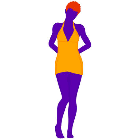 Beautiful a fashion girl in short dress. Purple silhouette of young woman. Vector illustration.