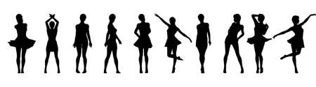 Set of beautiful a fashion girls in short dress. Silhouette of young woman. Vector illustration. Illustration