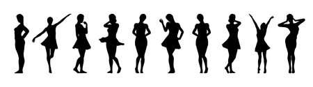 Set of beautiful a fashion girls in short dress. Silhouette of young woman. Vector illustration. Vektoros illusztráció