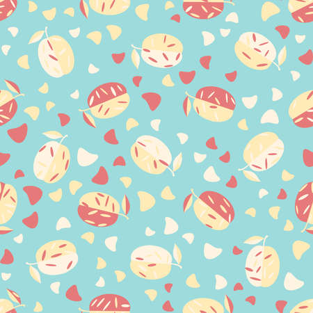 Fruit seamless pattern. Fashion design. Food print for kitchen tablecloth, curtain or dishcloth. Hand drawn doodle wallpaper. Vector background.