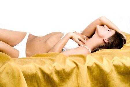twentysomething: A beautiful model on a white isolated background.
