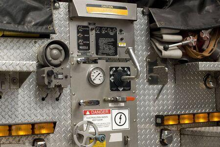 emergency vehicle: A red emergency vehicle outside.