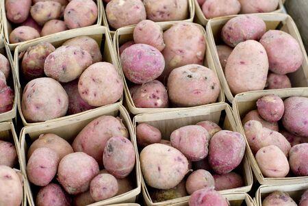 신선한 빨간색 판매 감자 껍질. 스톡 콘텐츠