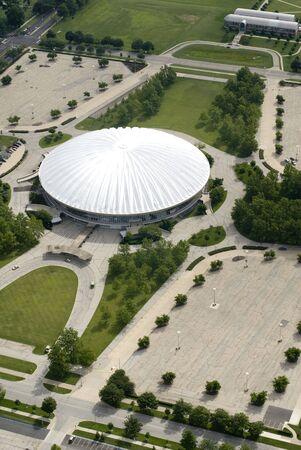 An aerial shot of a stadium.