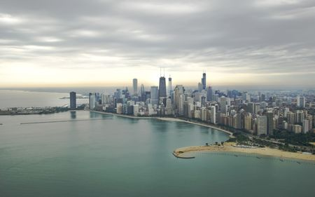 Magnificent photo of Chicagos skyline with overcast sky photo