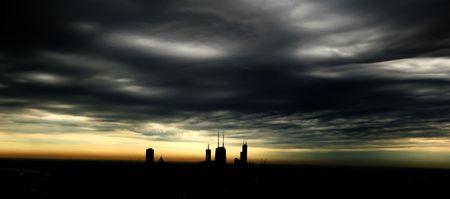 시카고 스카이 라인의 놀라운 사진 실루엣 스톡 콘텐츠