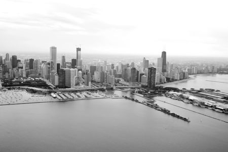 Dramatic black and white photo of Chicago 免版税图像