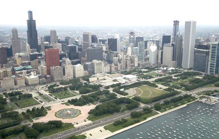 cna: Downtown Chicago da Est attraverso l'aria Archivio Fotografico