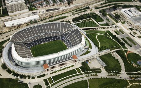 solders: Chicagos famous football stadium photographed in the daylight