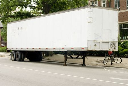 semitruck: Full length photo of a white semi-truck trailer