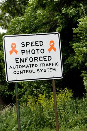Speed Photo Enforced highway construction sign Stock Photo