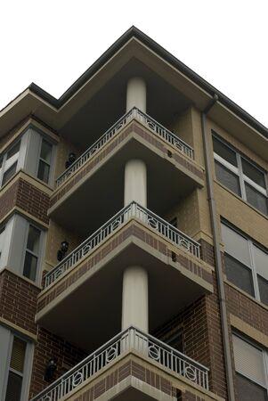 multi story: Multi-story condominium buildings balconies