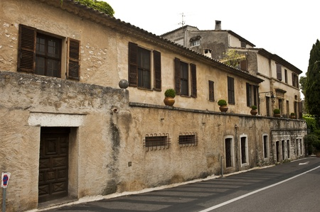 vence: Wide shot of an old, medieval town in France.  Stock Photo