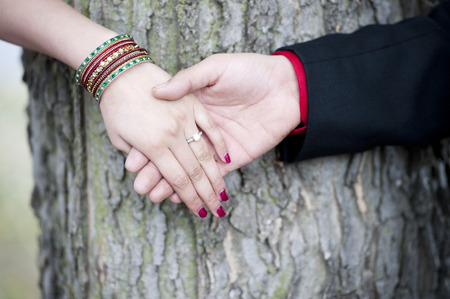 indian wedding: A young Indian couples engagement hands on a sunny day outdoors.