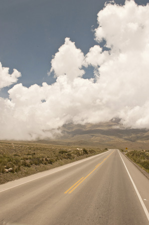 A Peruvian roadway near Arequipa Peru in the Yura district on a cloudy day.