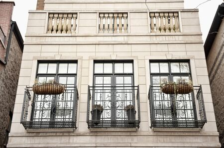 castings: A view of three beautiful balconies for a home in the US. Stock Photo