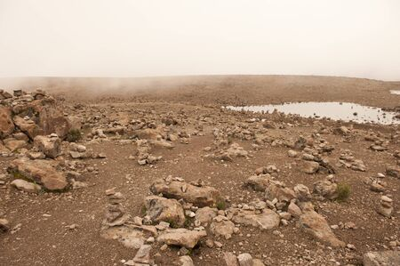 terracing: 5000 meter point in the Caylloma Province near Yanque in Peru. Stock Photo