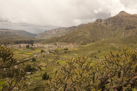 A view of the Chivay area on a sunny day in Peru.