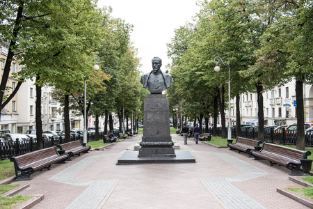 felix: Bust of Felix Dzerzinhsky, also known as Iron Felix in a park on Independence Square, Minsk. Felix was an eminent member of the Polish as well as Russian Revolutionary. Stock Photo