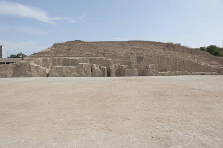 peruvian ethnicity: Pyramid of Huaca Pucllana on a sunny day in Peru.