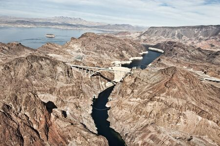 megawatts: A view of the Hoover Dam from a helicopter. Stock Photo