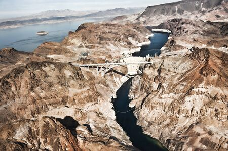 A view of the Hoover Dam from a helicopter. Stock Photo